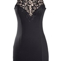 The Black Evening Lace Neck Dress  - 29 and Under