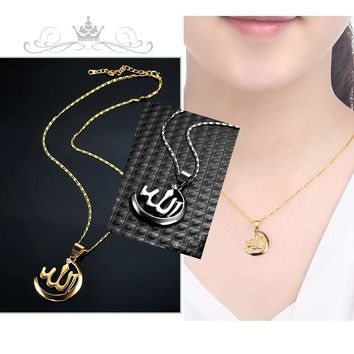 Muslim Gold Silver Allah Necklace Women/ Men Jewelry Rhinestone Religion  Islam Moon Necklaces & Pendants For Arab Name