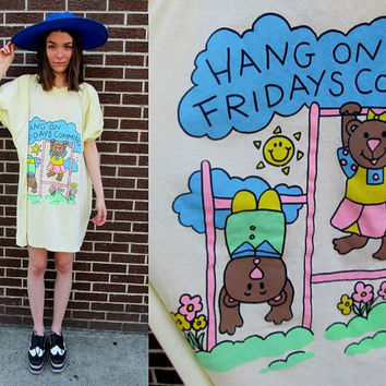 80's Yellow Oversized Cartoon Friday Funny by SomeVelvetVintage