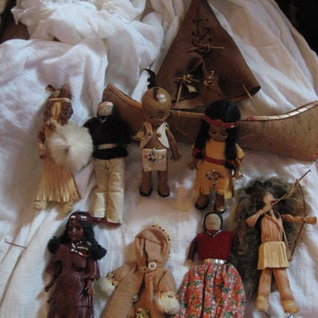 8  Vintage  Collection  AMERICAN NATIVE Indian dolls  leather tee pee  canoe clothes