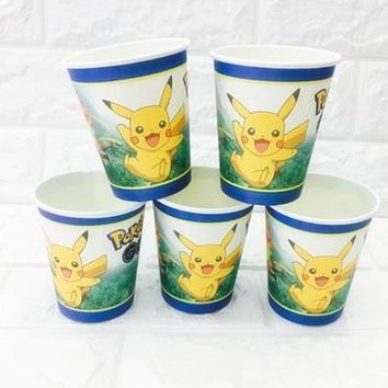 10pcs/lot   paper cup kids birthday party decoration baby shower theme festival for kids boys girlsKawaii Pokemon go  AT_89_9