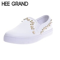 HEE GRAND Women Flats Rivets Faux Pearl Fashion Loafers Platform Casual Shoes For Woman XWD5946