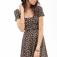 FOREVER 21 Rose Print Skater Dress Black/Red