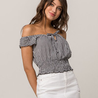 IVY & MAIN Plaid Black & White Womens Off The Shoulder Top