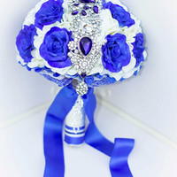 Brooch bouquet. Ultramarine Blue Bouquet. Deep blue. Ivory blue bouquet. Hydrangea blue.
