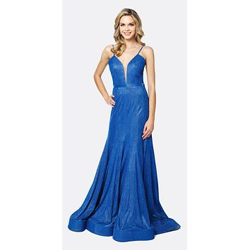 Low V-Neck Fitted Glitter Mermaid Prom Dress Royal Blue