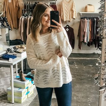 Keeli Patterned Eyelet Sweater