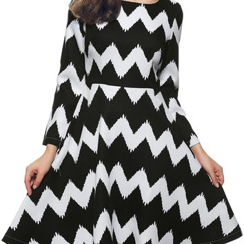 Color Block Zippered Zig Zag Dress