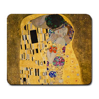 Gustav Klimt The Kiss Painting Mousepad Mouse Mat Fabric & Neoprene Rubber Custom Design Made to Order 40517142