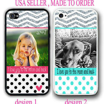 PERSONALIZED PHOTO IMAGE BLACK POLKA DOTS CHEVRON CASE FOR IPHONE 6S 6 SE 5S 5C