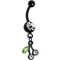 Crystalline Green Gem Black Cherries Dangle Belly Ring | Body Candy Body Jewelry