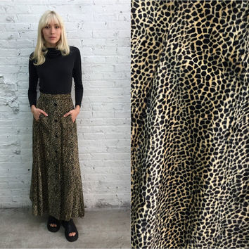 vintage 60s Its from Helfts of Beverly Hills faux fur cheetah print maxi skirt / fuzzy animal print skirt