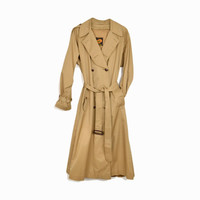 Vintage 80s Tan Trench Coat / Classic Trench Coat / Rain Jacket - women's medium/large