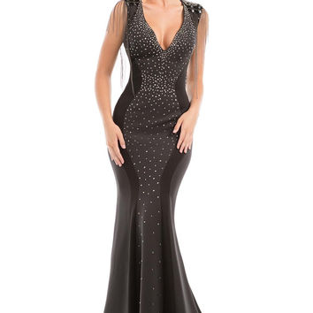 JOHNATHAN KAYNE 7104 Black/Charcoal Jeweled V-Neck Open Back Prom Evening Dress