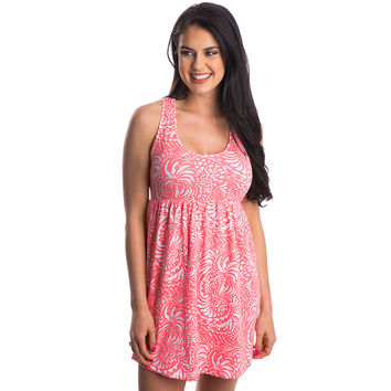 Printed Tailgate Dress in Coral by Lauren James - FINAL SALE