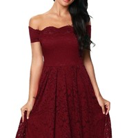 Chic Burgundy Scalloped Off Shoulder Short Sleeve Lace Flare Dress