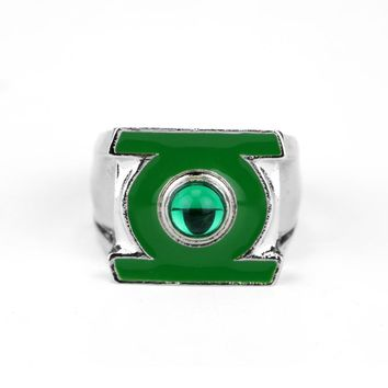 1PCS DC Comics The Green Lantern Logo Silver Plated Ring Men's Jewelry Fashion Jewelry