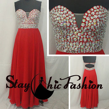 Red Long Strapless Big Stones Beaded Top Deeop V Neck Chiffon Open Back Prom Formal Dress