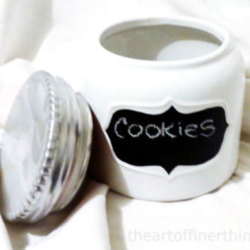 Stoneware Cookie Jar Chalkboard Label Ceramic cookie jar cream white stoneware canister chrome cookie jar crock big cookie jar kitchen decor