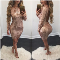 Fashion 2017 Woman Geometric Party Club Wear Golden Sequin Dresses Backless Bodycon Pencil Sexy Slim Club Dress