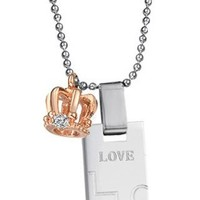 """Stainless Steel Bar Pendant Necklace with Crown Charms Engraved Heart and Cross """"Love"""" """"Hope"""" Diamond Cut CZ Accents, Rose Gold Accent for Ladies"""