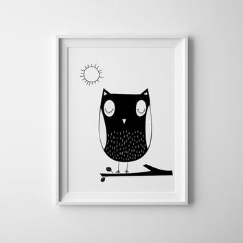 Little Owl art for baby and childrens nursery.