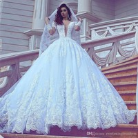 Deep V-neck Applique Lace Long Sleeves Wedding Dress Crystals Royal Train Bridal Gowns