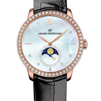 Girard-Perregaux 1966 Lady Moon Phases Watch In Pink Gold with Black Alligator Strap