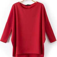 Red Batwing Sleeve Loose Fitting Dip Hem T-Shirt