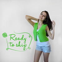 FREE SHIPPING Pure cotton vest Electric green knit vest Short summer vest Light summer wear Light grass green vest  Ready to ship vest