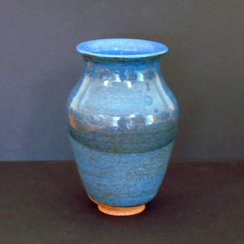 Ceramic vase, blue vase, tall, blue flower vase, handmade, high fired