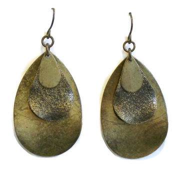 Boho Metal Tear Drop Earrings, Hippie Earrings, Bronze Earrings, Dangle Earrings, Drop Earrings