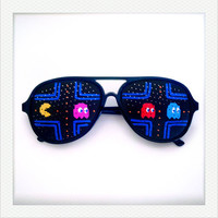 Hand Drawn Shades pacman  colorful sunglasses for fun by iamkamty