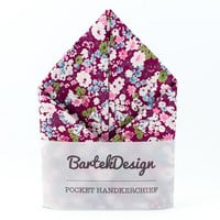 Pocket Handkerchief by BartekDesign Magenta Purple Pink Flowers