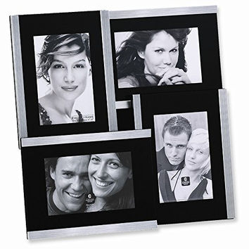 Brushed Metal Collage Holds Four 4x6 Photo Frame