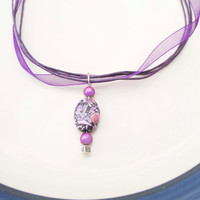 SPRING TRENDS SALE Purple Ribbon Necklace Choker With Glass Bead Pendant