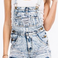 Acid Wash Denim Cut Off Distressed Fringe Shorts Overalls Jumpsuit