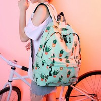 Women's Canvas Cactus Teenage School Backpack Fashion Travel Bag Daypack