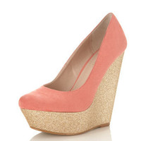 Whoop Coral Gliiter Wedge - New In - Miss Selfridge US