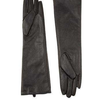 Long Faux Leather Gloves in Black