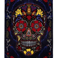 Handmade Cotton 3D Sugar Skull Tapestry Wall Art Beach Sheet 60x90 Inches Blue