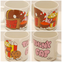 """Vintage 1985 """"Think Fat"""" Donut, Candy, Pie, Cookie, Cake and Junk Food Mug - Cute Funny Coffee Cup Glass - Retro"""