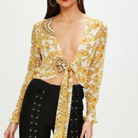 Missguided - White Baroque Tie Front Cropped Blouse