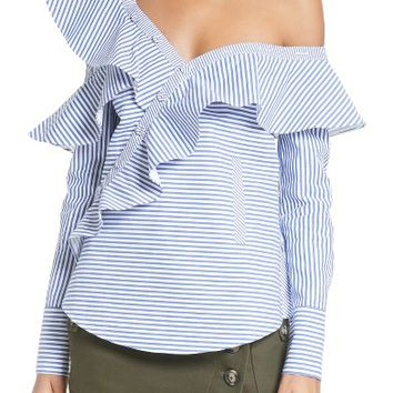 Self-Portrait Asymmetrical Ruffle Top | Nordstrom