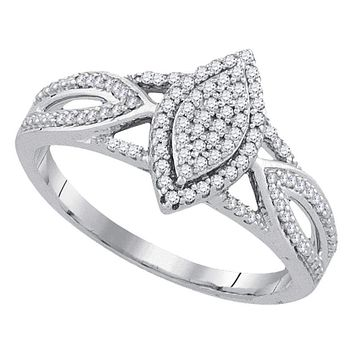 10kt White Gold Women's Round Diamond Marquise-shape Cluster Bridal Wedding Engagement Ring 1/4 Cttw - FREE Shipping (US/CAN)