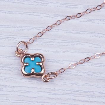 "Rose Gold clover necklace, four leaf clover necklace, lucky necklace, Clover pendant, charm necklace, turquoise and gold, ""Turquoise clover"