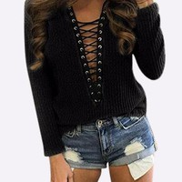 Black  Knitted Roll Neck Hollow Lace-up Front Jumper
