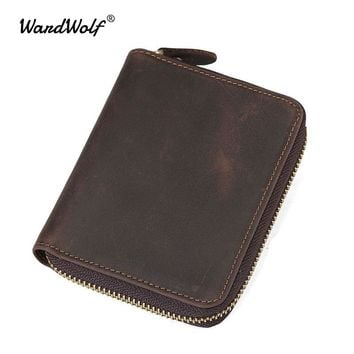 WardWolf Clutch Male Genuine Leather Coin Purse Men Wallets for Credit Card Phone Card Holder Zipper Wallets Men Clutch Bag