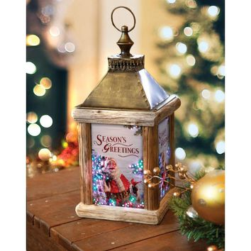 Winter Birch Santa Fiber Optic Lighted Lantern
