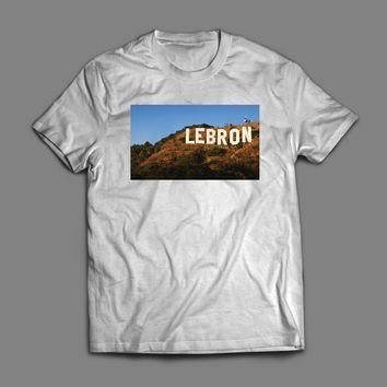 "LAKER'S LEBRON JAMES HOLLYWOOD SIGN PARODY ""LEBRON"" T-SHIRT"